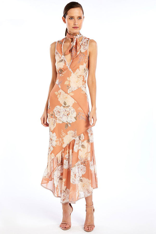 WE ARE KINDRED Nellie Silk Bias Dress in Peach Blossom
