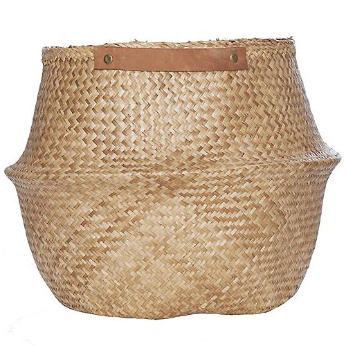 The Leather Handled Belly Basket- Natural