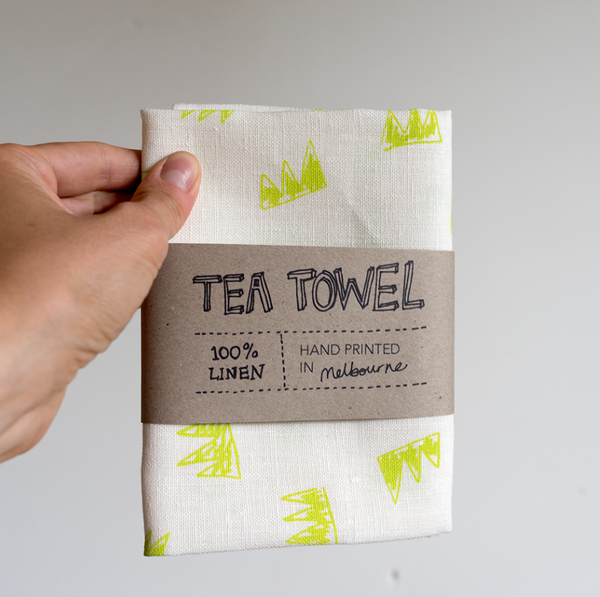 Linen Tea Towel- Crowns in Fluro