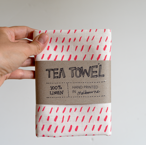 Linen Tea Towel- Dashes in Pink