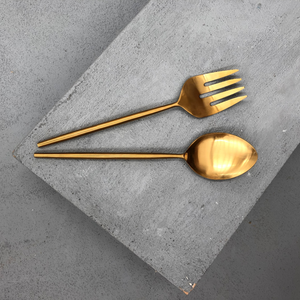INARTISAN Ranya Salad Servers Brass