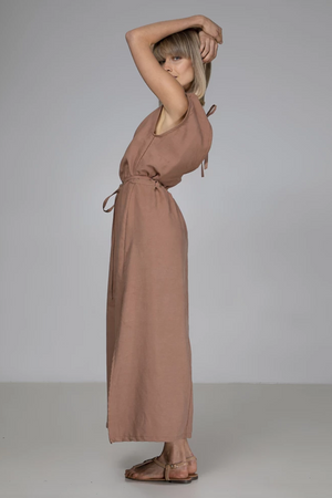 INDECISIVE Tencel Abigail Dress in Taupe