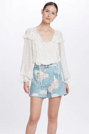 WE ARE KINDRED Coco Ruffle Blouse in White Lily