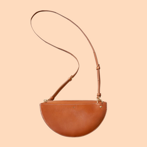 SIMETRIE Thick Crescent Moon Bag in Bark