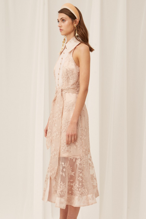 KEEPSAKE Vision Midi Dress in Nude
