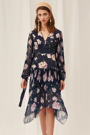KEEPSAKE Nobody Midi Dress in Midnight Gardenia