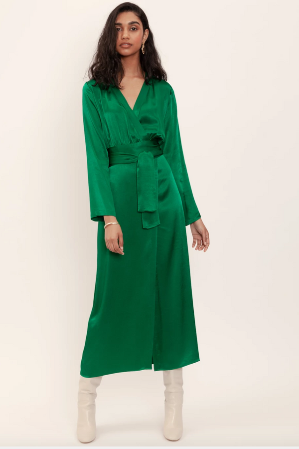 DOMINIQUE HEALY Eliah Wrap Dress in Emerald