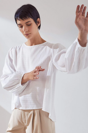 KOWTOW Painter Top in White Check