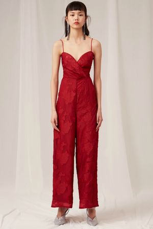 KEEPSAKE Offset Jumpsuit in Rouge