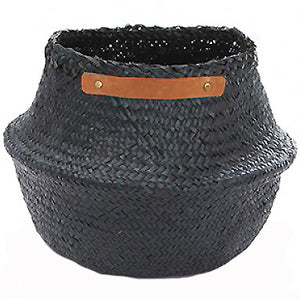 The Leather Handled Belly Basket- Black