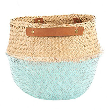 The Leather Handled Belly Basket- Mint