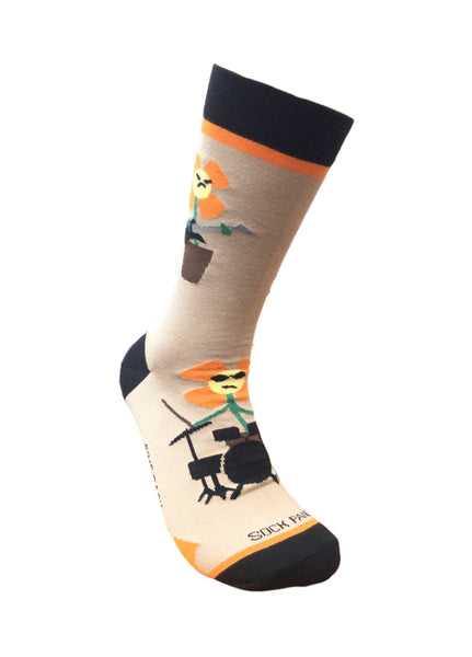 Flower Rock Band sock - Right Sock Panda