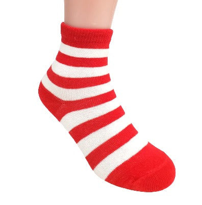 Red and White Striped Holiday Sock - Right Sock Panda