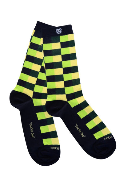 Checkered green Flat - Sock Panda