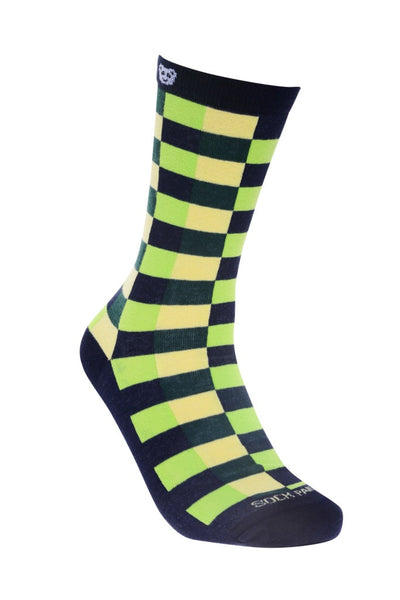 Checkered green Right - Sock Panda