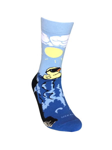 Rubber Duck Swimming Over a Waterfall Socks Right Sock Panda
