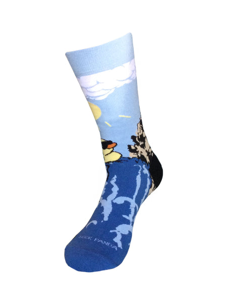 Rubber Duck Swimming Over a Waterfall Socks Left Sock Panda