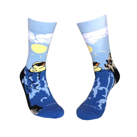 Rubber Duck Swimming Over a Waterfall Socks Both Sock Panda