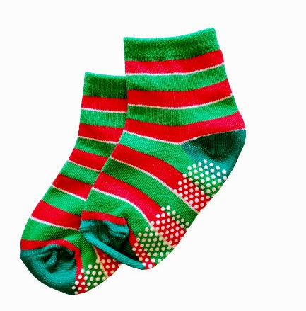 Red and Green Striped Holiday Sock - Sock Panda