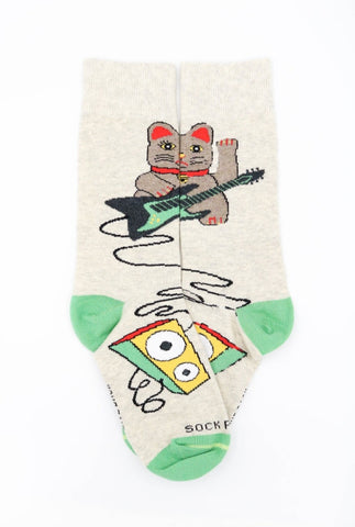 Music Lucky Cat sock - Flat Sock Panda