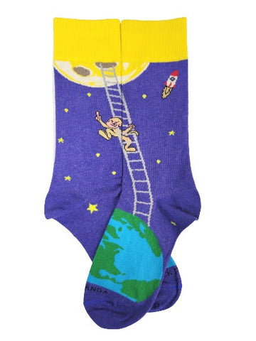 It is Good to Dream - Monkey Climbing Ladder to the Moon Socks Flat Sock Panda