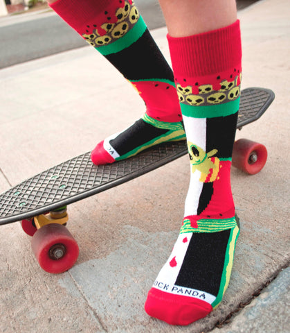 Skater Alien on a Half Pike Watermelon Sock