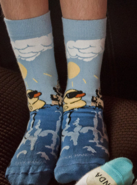 Rubber Duck Swimming Over a Waterfall Socks Lifestyle Sock Panda