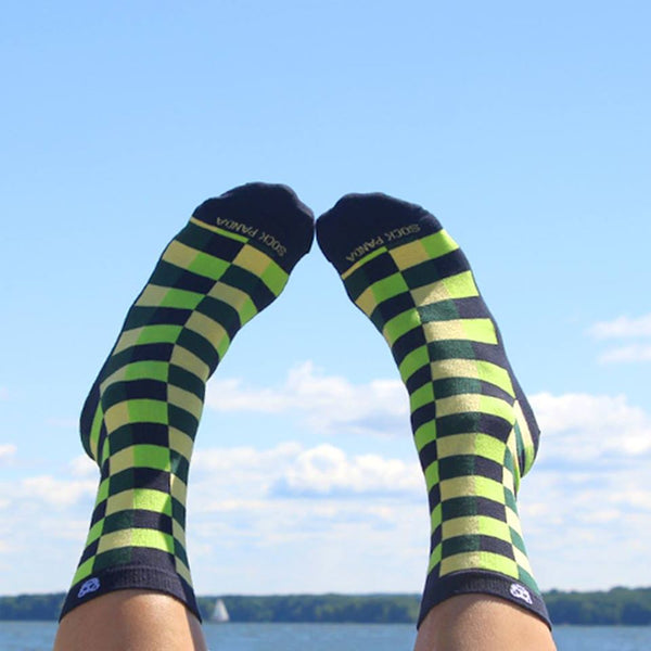 Checkered green Lifestyle - Sock Panda
