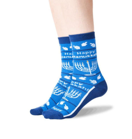 Happy Hanukkah No Skid Crew Socks (Adult Medium)