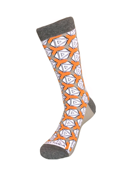 Stylish and Unique Orange & Grey Geometric Sock