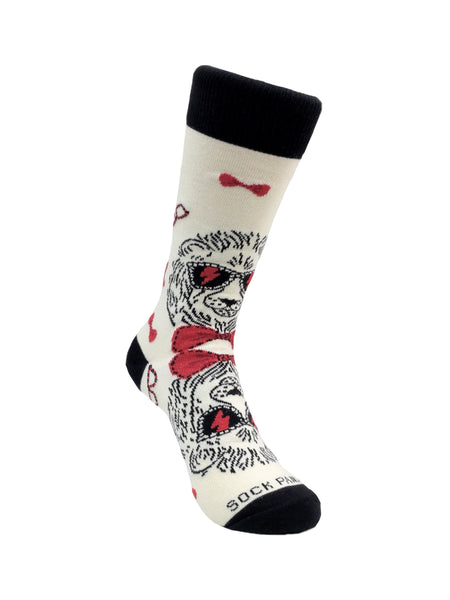 Reflective Lion Wearing Lightning Bolt Sunglasses Sock