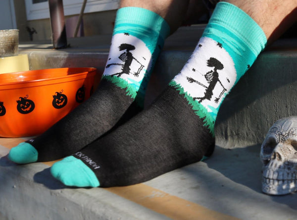 Skeleton in front of moon lifestyle 2 - Sock Panda
