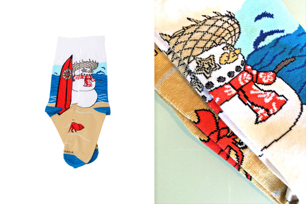 Snowman Surfer Close up - Sock Panda