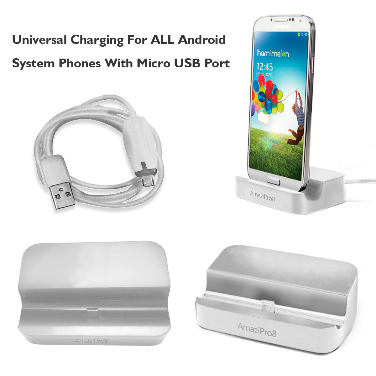 Universal Charger Docking Station for Android Smartphone -Charging dock for almost all Android Smart phones - AmaziPro8