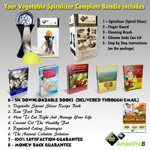 Vegetable Spiralizer Complete Bundle - Spiral Slicer comes with FREE Spiral Recipe eBook & FREE Silicone Soda Can Lid + FREE SHIPPING