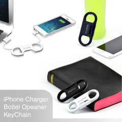 AmaziPro8 iPhone Charge Sync Cable + Bottle Opener + Key Chain (White) + FREE SHIPPING - AmaziPro8