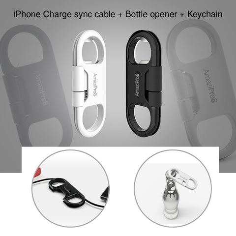 AmaziPro8 iPhone Charge Sync Cable + Bottle Opener + Key Chain (White) + FREE SHIPPING
