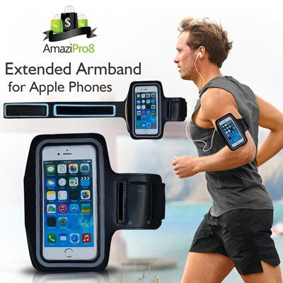 AmaziPro8 Sports Armband + Free Key Holder - Sporty Armband For iPhone 6 Plus - Also Compatible for Samsung Note 3 & Note 4 + FREE SHIPPING