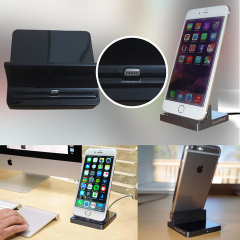 AmaziPro8 iPhone Charger Docking Station, Cradle Charging Sync Dock Station for Apple iPhone 6 Plus 6 5 5S 5C (Black) + FREE SHIPPING