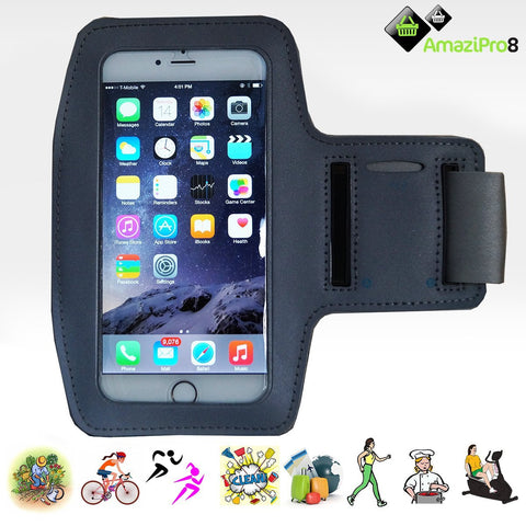 AmaziPro8 Sports Armband + Free Key Holder - Sporty Armband For iPhone 6 Plus Also Compatible for Samsung Note 3 & Note 4 - GREY + FREE SHIPPING