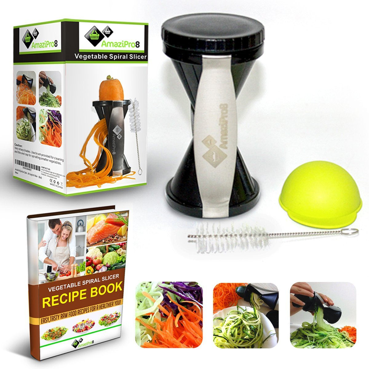 Vegetable Spiralizer Complete Bundle - Spiral Slicer comes with FREE Spiral Recipe eBook & FREE Silicone Soda Can Lid + FREE SHIPPING - AmaziPro8