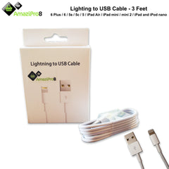 AmaziPro8 Lightning Cable 3ft (Three Feet) 8 pin USB SYNC Cable for Apple iPhone - AmaziPro8