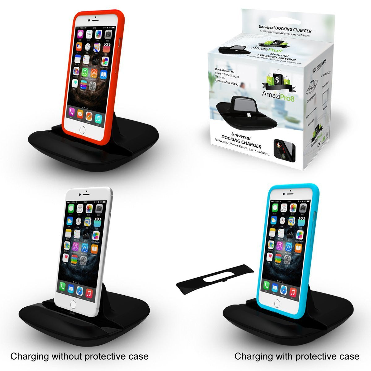iPhone Charger Docking Station + Cable + Case-Mate, Apple iPhone 6 Plus 6 5 5S 5C iPad Air/mini etc. - AmaziPro8