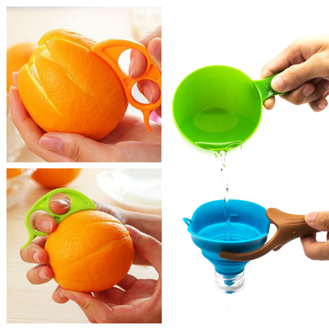 AmaziPro8 Silicone Kitchen Funnel + Orange Peeler + 8 Cooking Books - Collapsible Funnel Foldable Funnel