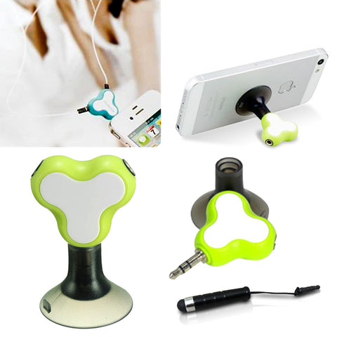 Earphone Splitter + Phone Holder + Mini Stylus Pen + Anti Dust Plug