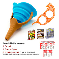 AmaziPro8 Silicone Kitchen Funnel + Orange Peeler + 8 Cooking Books - Collapsible Funnel Foldable Funnel - AmaziPro8