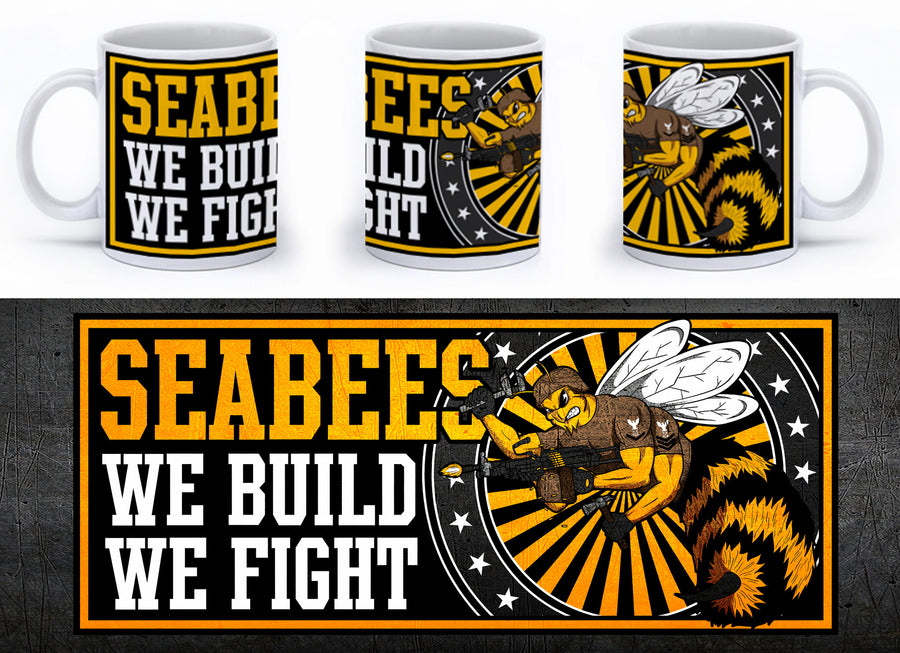 Seabees - We Build, We Fight Mug - Yellow - Mil-Spec Customs