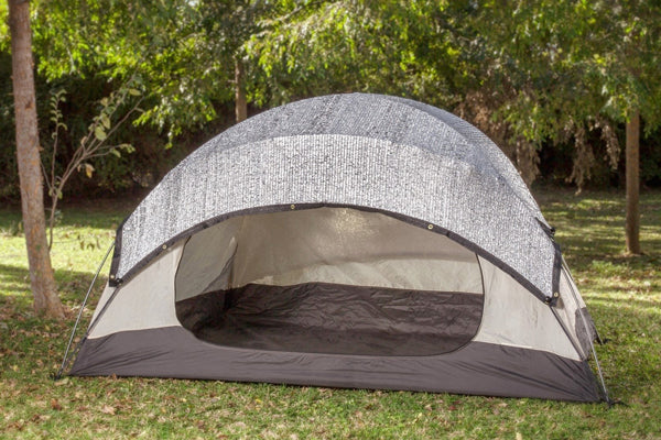 Aluminet shade cloth covering a camping tent