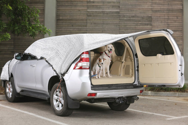 Aluminet shade cloth covering car with dogs