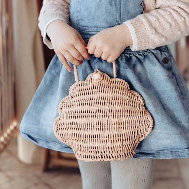 Olli Ella Shell Bag, Straw - Hello Little Birdie